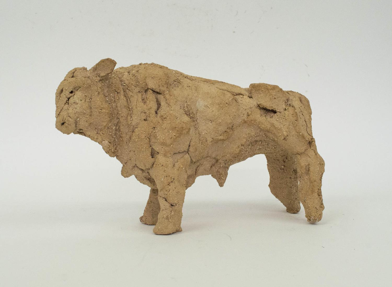 TANYA BRETT (b.1974) BULL, ceramic maquette, 14cm H x 23cm x 8cm.