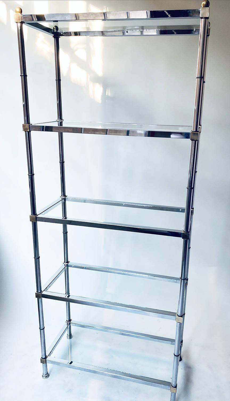 CHROME SHELVES, a pair, chrome frame with rectangular glass shelves each with five shelves, 78cm x - Image 3 of 8