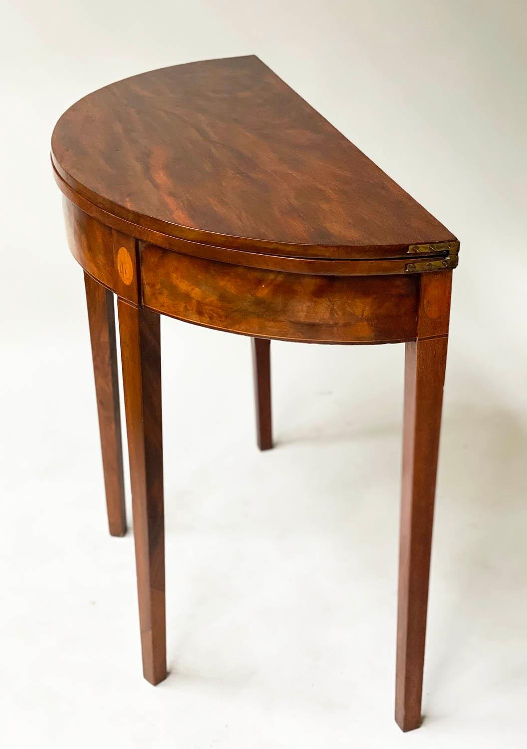TEA TABLE, George III flame mahogany with demi lune foldover top and satinwood paterae headed - Image 5 of 6