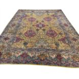 FINE ANTIQUE TEHRAN CARPET, 365cm x 280cm, golden field.