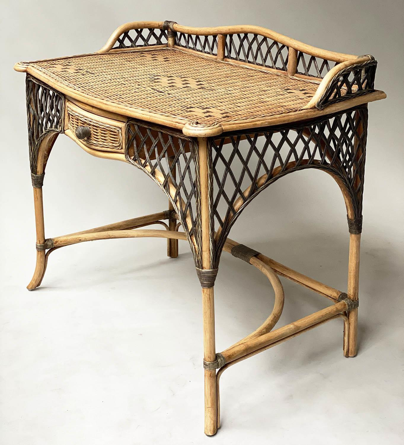 SIDE/WRITING TABLE, vintage Ralph Lauren style two tone rattan with gallery and frieze drawer, 103cm - Image 4 of 6