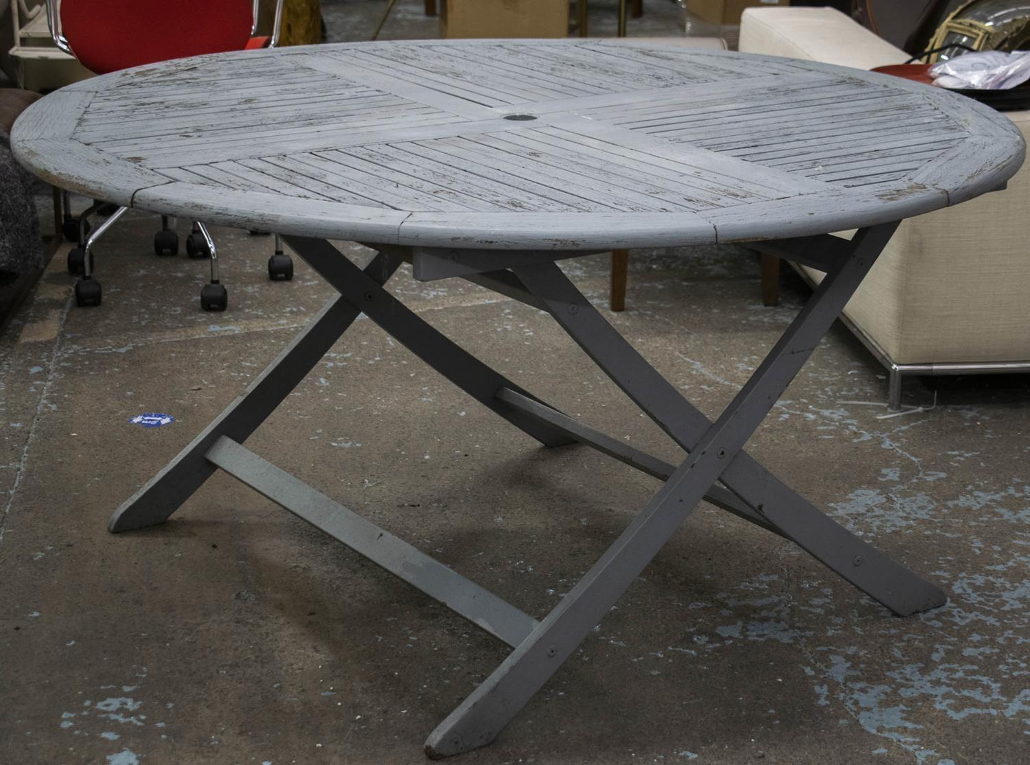 GARDEN DINING SET, distressed grey painted teak table, circular and folding, 74cm H x 150cm with - Image 2 of 3