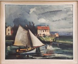 MAURICE DE VLAMINCK 'Le Bateau à Voile - 1916', lithograph, signed in the plate, published Ganymed