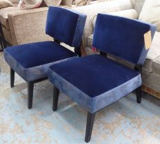 LOUNGE CHAIRS, a pair, blue velvet with contrasting fabric detail with ebonised frame, 55cm W. (2)