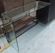 CONSOLE TABLE, contemporary formed glass, 112.5cm L x 38cm W x 79cm H.