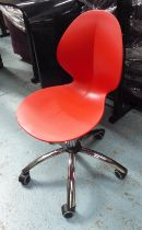 CALLIGARIS BASIL DESK CHAIR, red by Mr Smith Studio and Calligaris Studio, 43cm W.