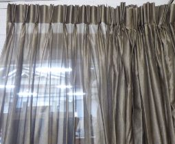 VOILE CURTAINS, three pairs in a shimmering bronze fabric, each curtain approx 125cm W gathered x