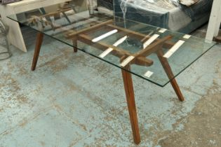 ORGANIC MODERNISM RECOLETTA DINING TABLE, 225cm x 85cm x 75.5cm. (chip to glass)