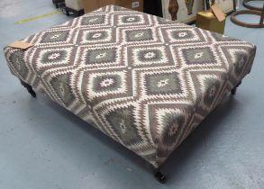 FOOTSTOOL, in kelim style upholstery, 34cm H x 81cm x 105cm L.