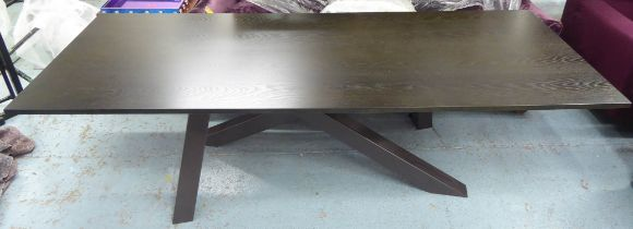 DINING TABLE, dark wood, 100cm D x 77cm H x 260cm L.