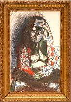PABLO PICASSO 'Femme Red', lithograph, dated in plate, suite: Californie, 38cm x 24cm, framed and