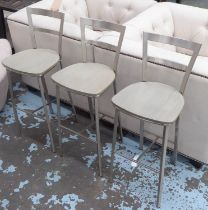 BAR STOOLS, three, metal, wooden seats, each 90cm H x 33cm W. (3)