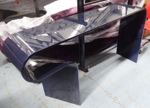 DAVID GILL STYLE CONSOLE TABLE, midnight blue glass, 38cm x 86cm H x 160cm. (slight scratches)