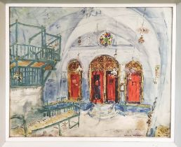 MARC CHAGALL 'Palestine -1931, Interior of Synagogue in Safed', lithograph, published Stedelijk -