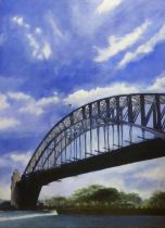 CONTEMPORARY SCHOOL 'Bridge over Water', acrylic on canvas, 100cm x 75cm.