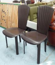 QUIA SOSSANO VI ITALIAN DINING CHAIRS, a set of six, brown leather, 102cm H x 46cm W. (6)