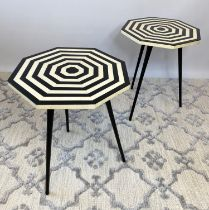LAMP TABLES, a pair, 1970's Italian design, octagonal inlaid tops on tripod metal legs, 53cm H x