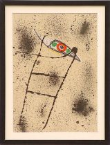 JOAN MIRO, lithograph on board, untitled suite: Maravillas, 1975, 50cm x 35cm, framed and glazed.