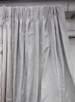 CURTAINS, two, in a woven silvery tessellated fabric, lined and interlined, one curtain approx 100cm