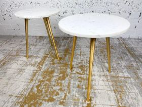 LAMP TABLES, a pair, 1970's Italian design, circular marble tops on tripod gilt metal legs, 47cm H x