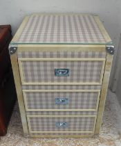 SIDE TRUNK, with three drawers, in a gingham fabric finish, 51cm x 51cm x 73cm H.