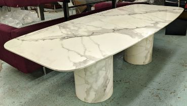 DINING TABLE, white marble, 261cm L x 111cm D x 78cm H, a base with two pillars and polished metal
