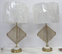 J HUNT HOME TABLE LAMPS, a pair, with shades, 68cm H. (2)