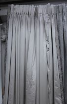 CURTAINS, three pairs, silvery satin with a woven border, lined and interlined, each curtain