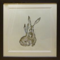 CATHERINE RAYNER (Contemporary British) 'Two Rabbits', signed, limited edition, hand coloured print,