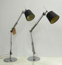 FRADSDEN LIGHTING DESK LAMPS, a pair, with shades, 96cm H at tallest.