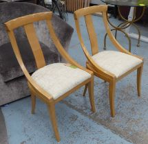 SIDE CHAIRS, a pair, contemporary design, neutral upholstered seats, 89cm H. (2)