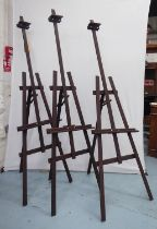 EASELS, three, folding, each approx 173cm H. (3)