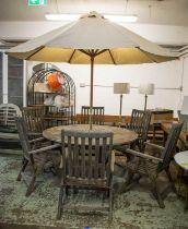 GARDEN DINING SET, including a circular table with teak dumb waiter, 73cm H x 50cm, an Alexander