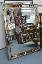 WALL MIRROR, 1970's Italian style, mirrored frame with gilt accents, 110cm xd 80cm.