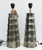 TABLE LAMPS, a pair, 1970's Italian style, polished metal, 50cm H. (2)