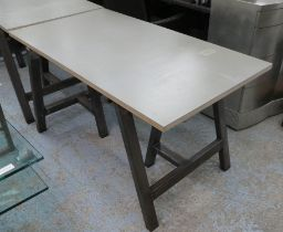 TRESSEL TABLE, contemporary bespoke steel tressels, with plywood top, 137.5cm x 73cm x 75cm.