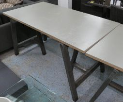 TRESTLE TABLE, contemporary bespoke steel, with ply wood top, 137.5cm x 73cm x 75cm.