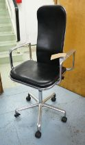 AFTER FREDERICK SCOTT SUPPORTO STYLE DESK CHAIR, 113cm H (one castor damaged).