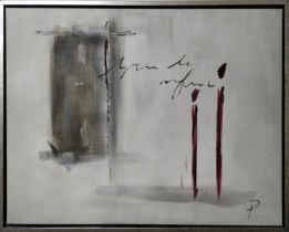 CONTEMPORARY DANISH SCHOOL 'Abstract with Figure', oil on canvas, signed 'P', framed, 60cm x 80cm.