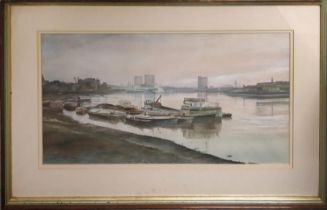 EDWARD ASHTON CANNEL (1927-1994) 'Wapping group', 51cm x 28cm, watercolour, monogrammed, framed.