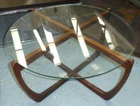 LOW TABLE, vintage 1960's teak base with glass top, 81cm diam x 41cm H.