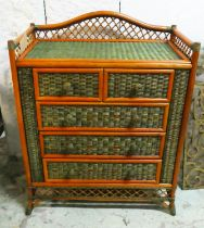 BAMBOO & RATTAN CHEST OF DRAWERS, contemporary, green painted, 79cm x 46cm x 104cm.