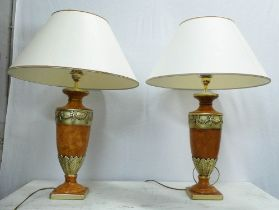 TABLE LAMPS, a pair, contemporary ceramic with shades, 79cm H approx. (2)