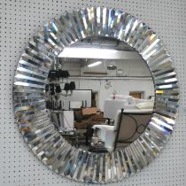 WALL MIRROR, Art Deco style, mirrored sunburst design, 76cm diam.