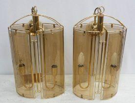 CEILING LANTERNS, a pair, 20th century Italian, 65cm drop. (2)
