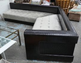CORNER SOFA, contemporary design, of angled form, with buttoned silver velvet seat, 75cm H x 250cm x