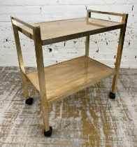 COCKTAIL TROLLEY, 1970's English brass and bakelite, 71cm H x 65cm W x 38cm D.