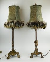 TABLE LAMPS, a pair, contemporary, with feathered shades, 90cm H. (2)