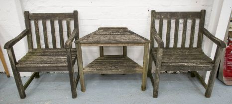 GARDEN DRINKS SET, including a pair of armchairs, weathered hardwood, 62cm, and a canted two tier