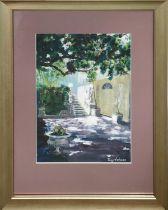 TONY JOHNSON (20th Century Scottish) 'Garden View', oil on panel, 39cm x 29cm, signed, framed.